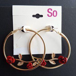 🍒3/$20🍒 NWT SO KOHL'S Rose Hoop Earrings